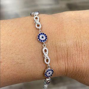 925 Sterling Silver Evil Eye Adjustable Bracelet